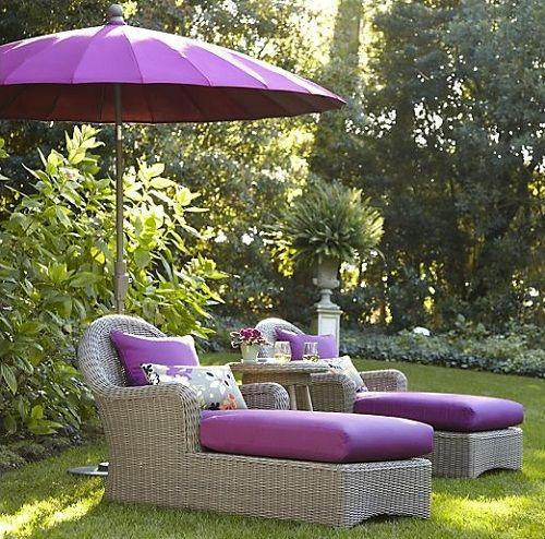 purple patio furniture decorate