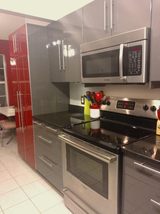 Gray and red kitchen  Kitchen Ideas  Pinterest