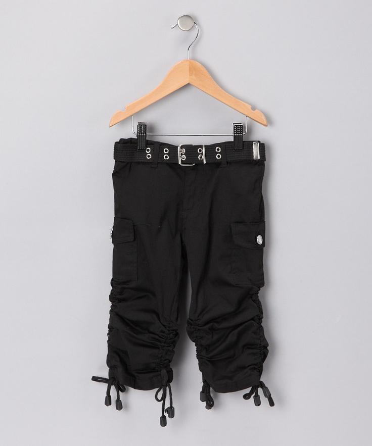 Fame Fashion Black Cargo Capri Pants - Girls