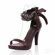 Platform Brown Leatherette Rhinstone Women Sandals