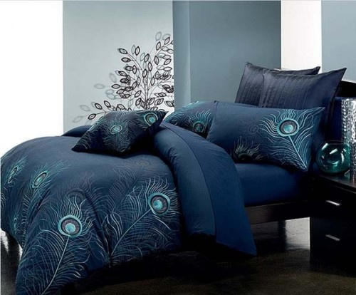 peacock bed cover blue color for the home
