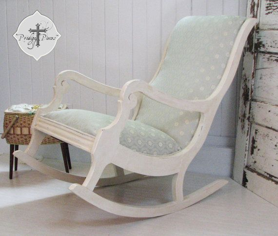 Antique vintage upholstered rocking chair with gorgeous fabric and ti