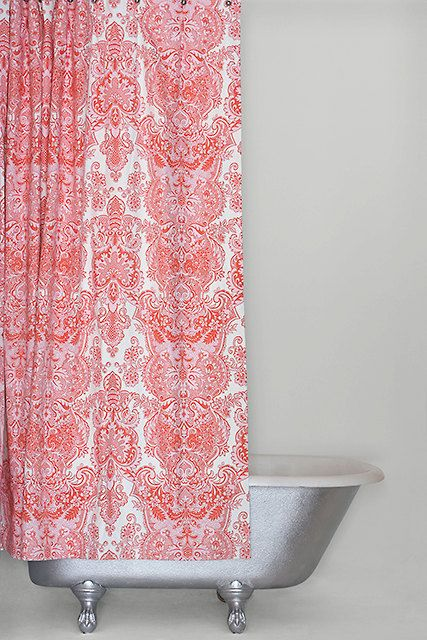 Extra long shower curtain pink cotton sateen fabric shower curtain