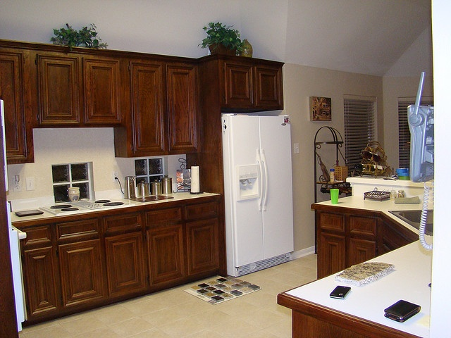 Dark Cabinets White Appliances Kitchens Pinterest