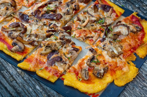 Polenta pizza with Mushrooms | Gluten Free Recipes ONLY | Pinterest