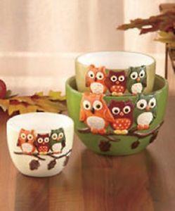 owl kitchen decor new set of 3 harvest owl tabletop bowls