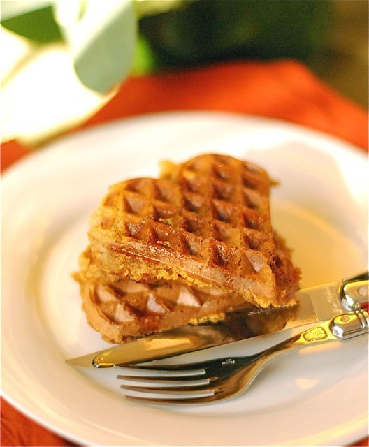 Spiced Whole Wheat Pumpkin Waffles - might just have to steal a waffle ...
