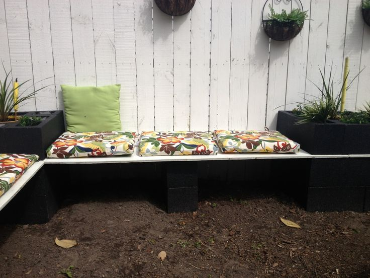 Love the black outdoor design pinterest for Cinder block seating area