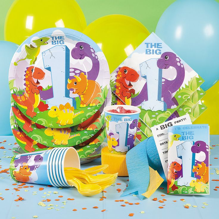 Dinosaur 1st Birthday Basic Party Pack - OrientalTrading.com