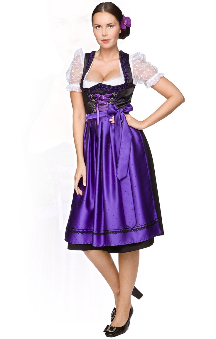 fairytale violet dirndl the black satin dress is softly. Black Bedroom Furniture Sets. Home Design Ideas
