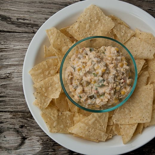 Spicy Mexican Corn Dip... (try Chobani instead of sour cream, and Blue Corn Chips!)