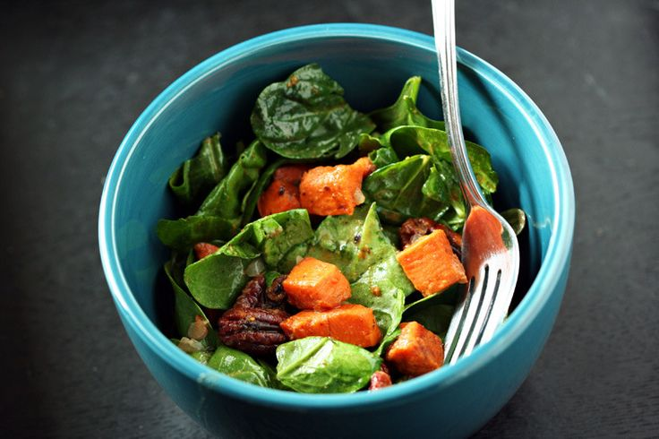 Warm Spinach Salad With Smoky Pecans And Sweet Potato ...