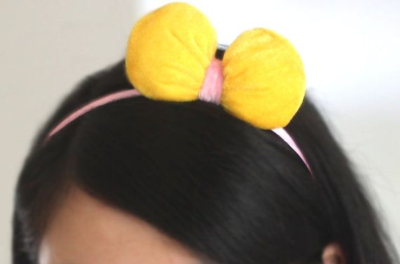 ... or hair clip, yellow and pink stuffed puffy fabric hair bow