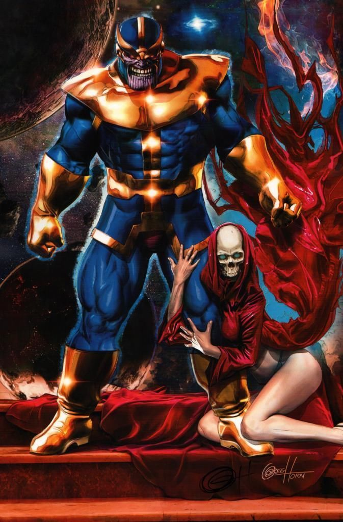 Anime Characters Vs Thanos : Thanos and death by greg horn comics art pinterest