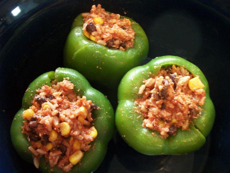 Crock pot vegetarian stuffed peppers | Crockpot | Pinterest