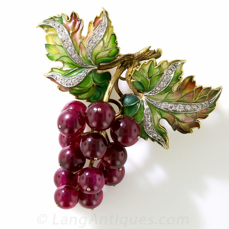 Plique a Jour Enamel, Diamond and Red Ruby Grape Cluster Brooch - 50-1-2750 - Lang Antiques
