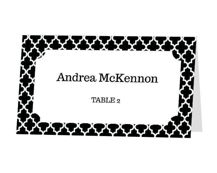 Avery Place Card Template - Quatrefoil Design. $11.00, via Etsy.