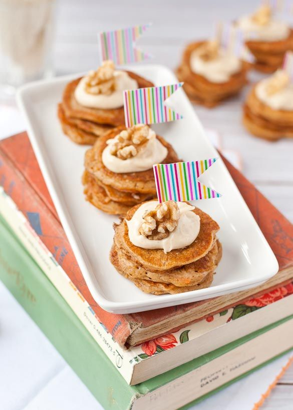 Carrot Cake Pancake Stacks with Maple Cream Cheese Topping | Neighborfoodblog.com