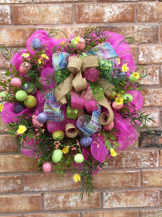 Easter Wreath Easter Egg Wreath Easter Front Door Wreath