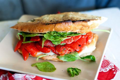 Roasted red pepper and pesto grilled cheese recipe