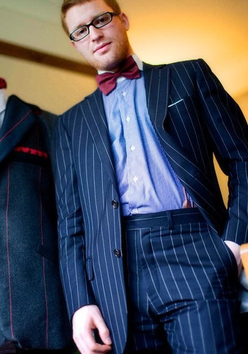 flat front pinstripe suit