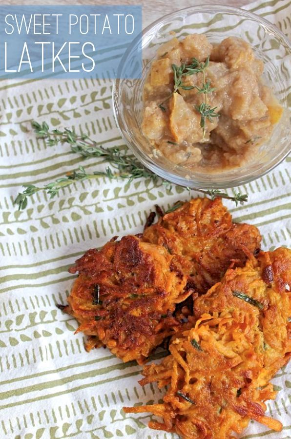 recipe | Sweet Potato Latkes + Spiced Thyme Applesauce - HelloNatural ...