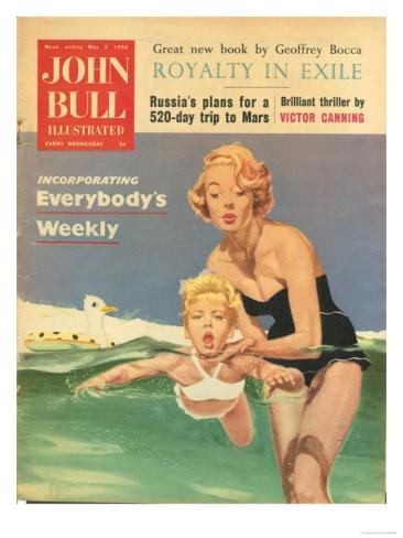 John Bull, Holiday Swimming Lessons Magazine, UK, 1950 Premium Poster at Art.com