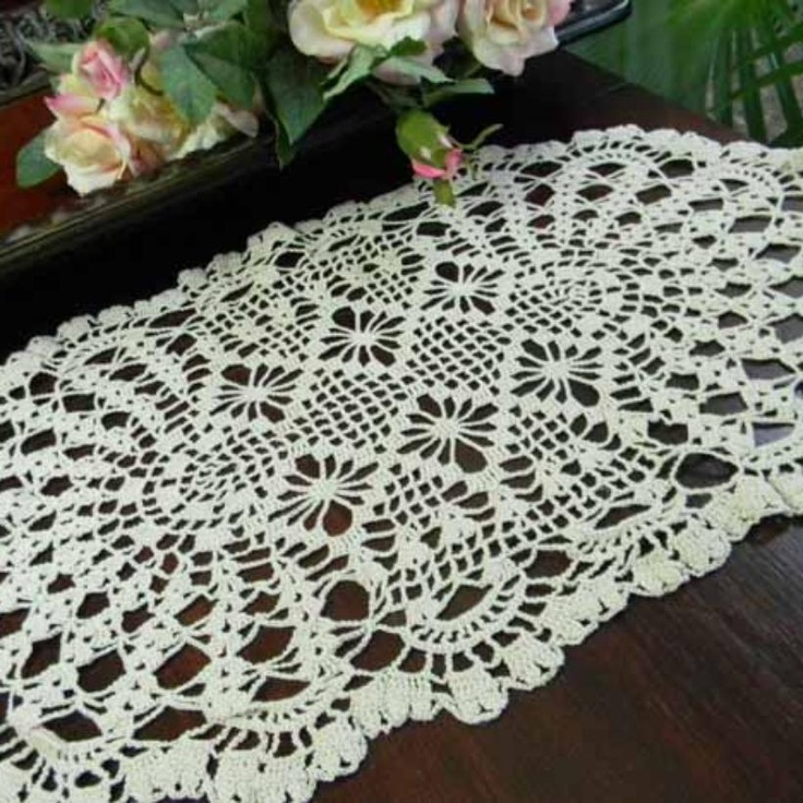 Vintage crochet oval doily Crochet table runners & placemats Pint ...