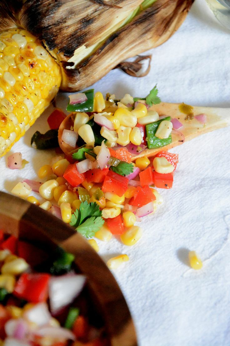 Fire Roasted Corn & Poblano Salsa | A sweet and spicy salsa made with ...