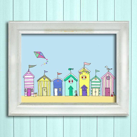 Beach huts in a row wall art print nautical print sea for Beach hut decoration items