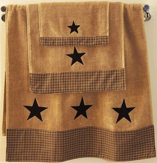 Vintage Star Black Bath Towel Folkart Primitive