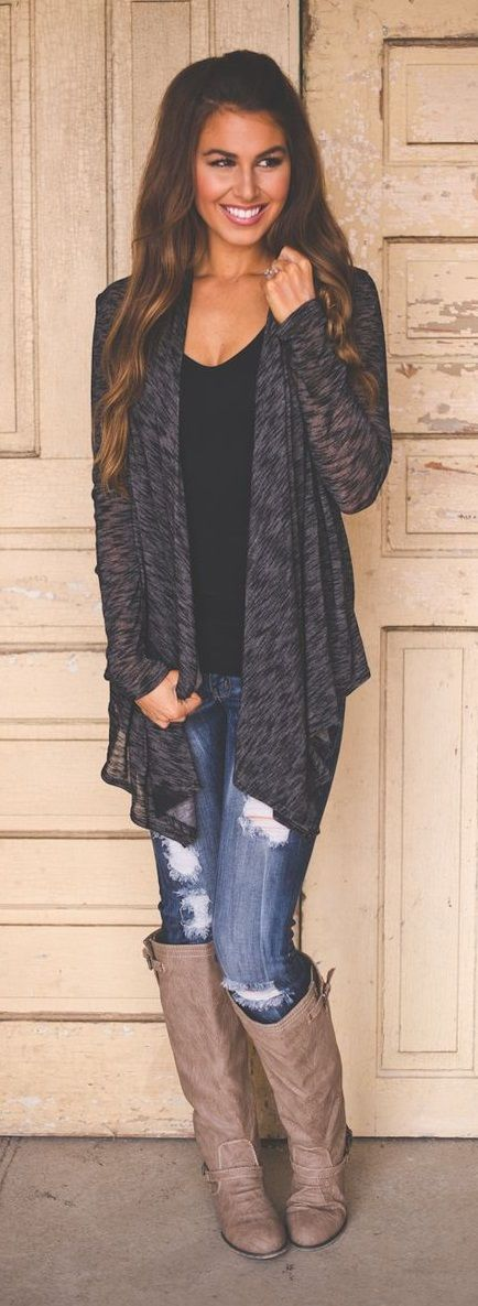 grey cardigan with keen high boots simple look for fall and winter