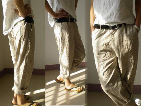 Simple  LinenCotton Straight Pant In Khaki For Men NEW BRITISH KHAKI