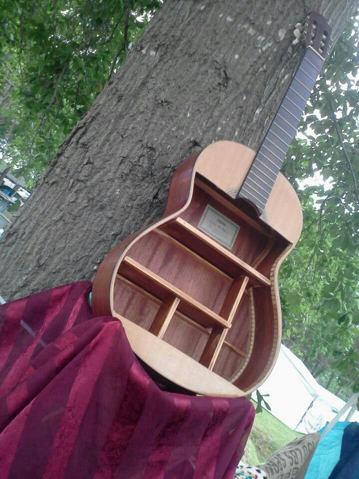 Guitar shelf totally want to do this with an old antique for Acoustic guitar decoration ideas