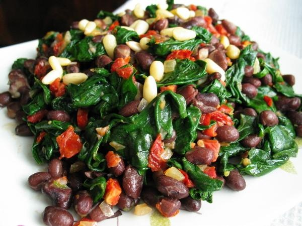 Spicy Black Bean Spinach Salad   Recipe