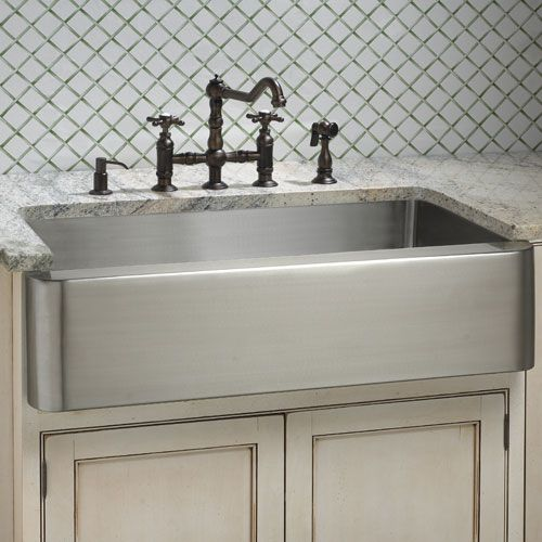 Stainless steel single well apron front sink about 10