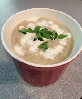 Roasted Cauliflower and Caramelized Mushroom and Leek Soup