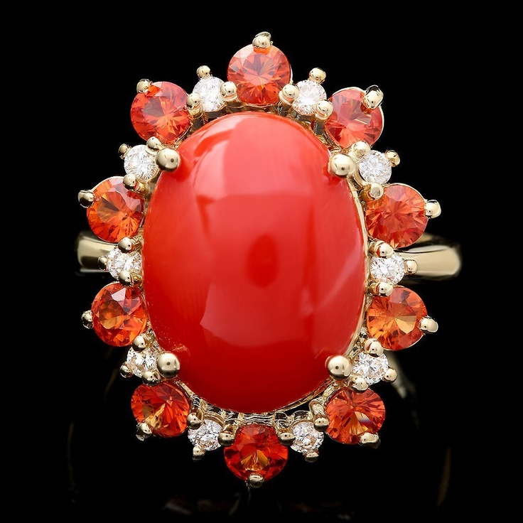 14k желтое золото 5.00ct Coral 0.35ct Diamond Ring