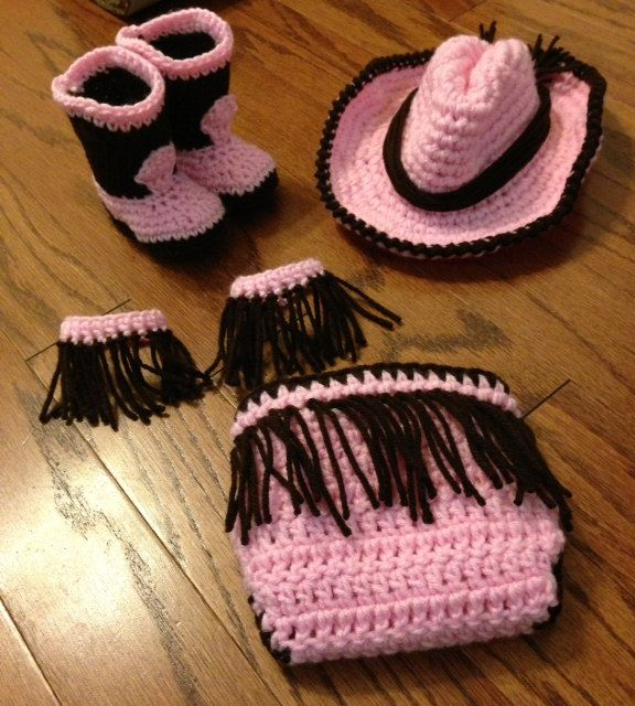 Crochet baby cowgirl outfit NB through 12 months, cowgirl ...