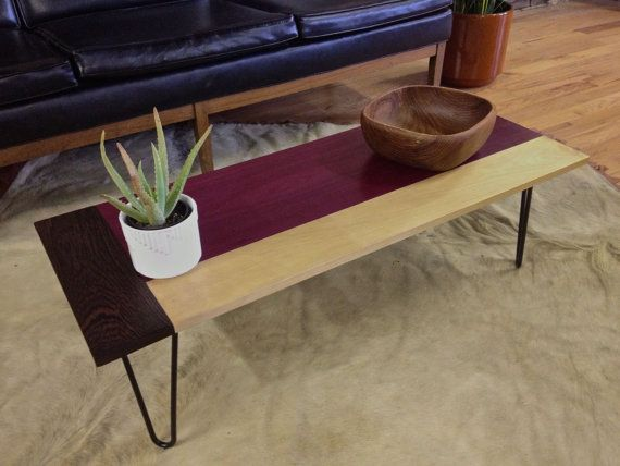 Purple heart coffee table with birch and wenge for Purple coffee table