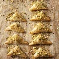 Feta & Pistachio Triangles   phyllo, feta, pistachios, honey, butter