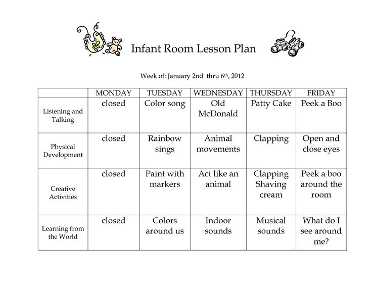 Infant blank lesson plan sheets infant room lesson plan week of