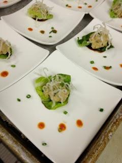 Mini Lettuce Wraps with minced chicken breast, eel sauce, crispy rice ...