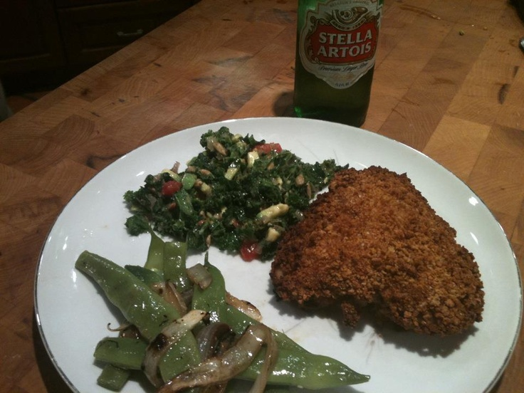 Oven Fried Chicken, Sauteed Green Beans w/Charred Onions, & Kale