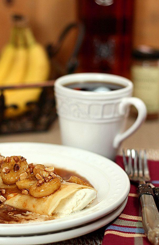 Bananas Foster Crepes with Vanilla Ice Cream | Recipe