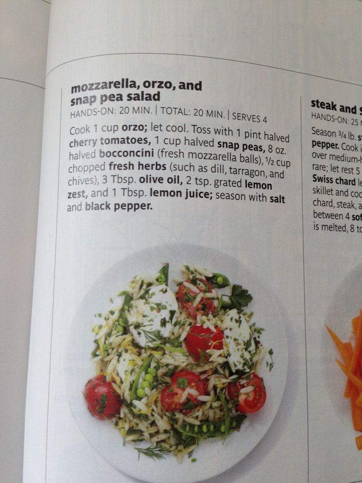 Mozzarella, orzo, and snap pea salad | foods | Pinterest