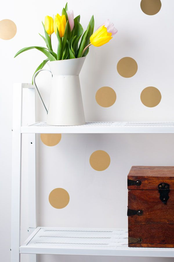 polka dot wall confetti with metallic gold