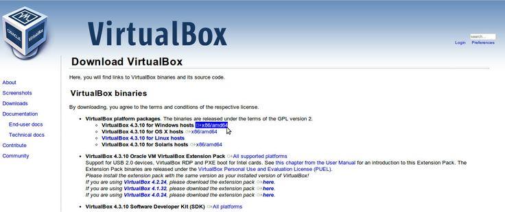 Pagina download di virtualbox