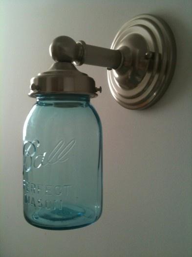 Mason jar light sconce. home Pinterest
