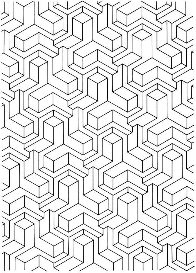 Free coloring pages of 3d geometric designs for Graphic design coloring pages